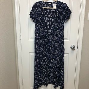 GAP Floral Tie Waist Midi Dress